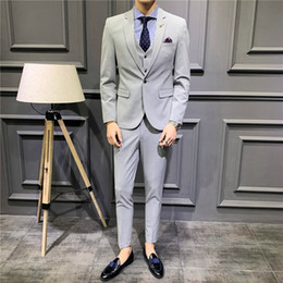Men suits sliM korean style online shopping - Men s Suit Set Style Men s Dress Groom Groomsmen Small Suit Korean style Slim Fit Solid Color Set