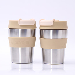 Silver inSulation online shopping - Silver Stainless Steel Tumbler With Mini Anti Skid Sleeve Coffee Cup Anti Wear Water Bottles High Quality bl BB