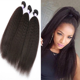 Discount mongolian afro kinky straight hair weave - 8A Mink Brazilian human hair Afro kinky Straight hair bundles 8-30inches Unprocessed Indian Peruvian Malaysian Human Hai