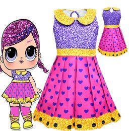 Down Shows Australia - Girls Surprise Princess Dresses Stage Show Cosplay Costume Children Cartoon Sleeveless Summer Dresses Kids Clothes Turn-down Collar Dress