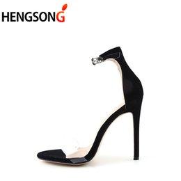 4978d6b9175 Dress Shoes 2019 Summer Women Sandals Fashion Party Wedding Catwalk Pumps  Ladies Supper High Thin Heel 11.5cm Sandal Sexy Black