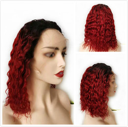 curly remy hair red 2021 - 1B 99J Burgundy Ombre Short Pixie Human Hair Brazilian Remy Curly Glueless Lace Front Wig For Black Women Deep Wave Wine Red Colored Bob Wig