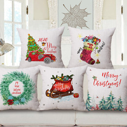 $enCountryForm.capitalKeyWord Australia - Merry Christmas Cushion Covers Watercolor Painting Xmas Tree Retro Red Car Cushion Cover Home Decorative Linen Cotton Pillow Case