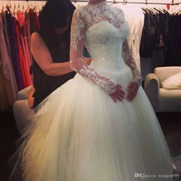 $enCountryForm.capitalKeyWord Australia - Beautiful White Wedding Dresses With Lace Crystal Sheer High Neck Long Sleeves Wedding Gowns Soft Tulle Sexy Illusion Bridal Dress