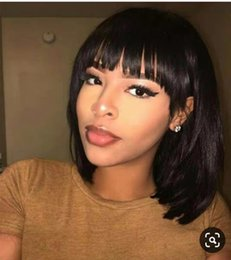 cut front hair Australia - Bob Cut 13X6 Lace Front Short Human Hair Wigs With Bangs Pre plucked Brazilian Remy Straight Hair For Women 130% density