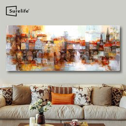 stretched canvas art prints NZ - Abstract Old Town in Prague Landscape Canvas Painting DIY Solid Wood Frame Stretched Poster Print Wall Art Pictures Home Decor