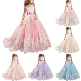 $enCountryForm.capitalKeyWord Australia - Little Girl Kids Clothing Flower Girl Dress for Kids Lace Ball Gown Wedding Bridesmaid Communion Brithday Party Dresses Formal Occasion