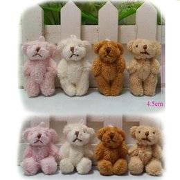 teddy bear plush key chain Canada - 4.5cm Plush Kawaii Mini Teddy Bear Small pendants Joint Bare Stuffed toys Key chain
