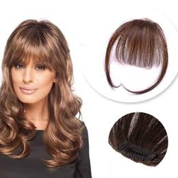 Temple Hair Australia - Human Hair Clip on Air Bangs Women Dark Brown Hair Bangs with Temples Hand Made Fringe Hair Clip Front Extensions Hairpiece