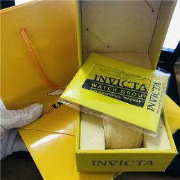 Бесплатная доставка желтые часы оригинал invicta коробки бумаги карты кошелек подарочные коробки сумки 148 мм * 110 мм * 88 мм 0.58 кг для всех часов invicta на Распродаже