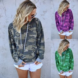 Wholesale women s camo hoodies for sale – custom Women Camouflage hooded Hoodie Autumn long sleeves drawstring pullover Casual Sweatshirts Tops Clothes shirts Camo Tee LJJA3219