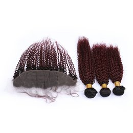 China Burgundy Ombre Indian Virgin Human Hair Kinky Curly Weave Bundles with 13x4 Frontal Closure #1B 99J Wine Red Ombre Hair Wefts with Frontal supplier red curly human hair suppliers