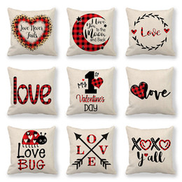 123 Designs Valentines Pillows Case Valentine's Day Letter Printing Heart Pillow Cover 45*45cm Sofa Nap Cushion Covers Home Decoration on Sale