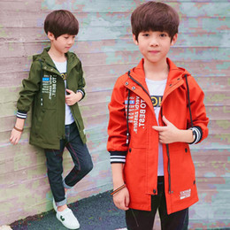 spring boys jackets NZ - Boys Coat Spring Summer 2019 New Letters Print Children Windbreaker Hooded Fashion Kids Jacket Big Child 4-16 Years Outerwear