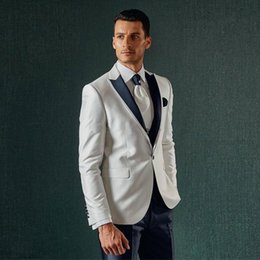 Cheap Winter Suits Australia - High Quality White Men's Suits One Button Groomsmen Wedding Tuxedos Peaked Lapel Groom Suit With Jacket And Black Pants Cheap Prom Wear