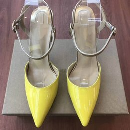 leather strap shoes Australia - Hot Sale-Newest Red Bottom High heels yellow Genuine leather Woman pumps pointed toe Crystal ankle strap Party Shoes Women shoes