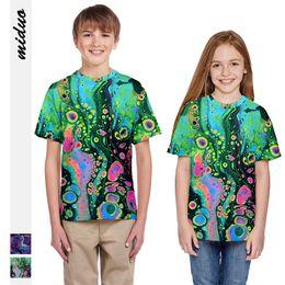 Painting Clothing Australia - new seaweed oil painting digital print t-shirt children short sleeves girls tops tide brand children's clothing wholesale
