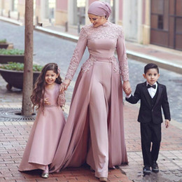 short pants flower black Canada - Dusty Pink Muslim Prom Jumpsuit with Detachable Train 2020 High Neck Lace Chiffon Long Sleeve Arabic Dubai Evening Pant Suit