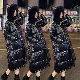 High-end Warm Temperament Leisure New Down Jacket Girls Long Section Thick Black Shiny Knee Loose Long Section Clearance Sale