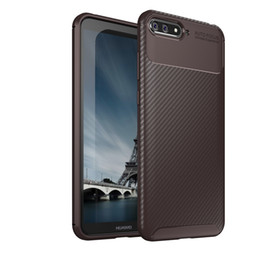 water shock proof phones UK - Carbon Fiber Texture Skin Phone Case for Huawei Y6 Soft Silicone TPU Ultra Slim Thin Shock-proof Armor Phone Cover