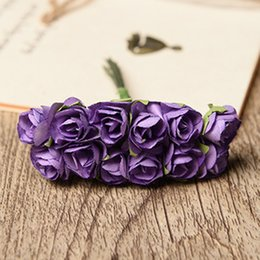 Purple White Roses Bouquets Australia - osierr6 12pcs Mini Paper Rose Handmade Artificial Flower Fake Flower for Bouquet Home Office Wedding Decoration(White)