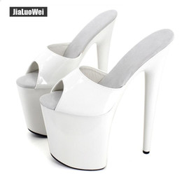 cdd561b1f63 Women Slippers Sexy Fetich Exotic 20cm Extreme High Spike Heel +9cm  Platform Summer Heels White shiny Sandals Shoes Show for Unisex