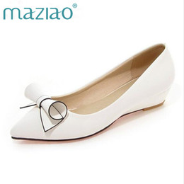 Red Wedges Shoes NZ - Designer Dress Shoes MAZIAO Women Bow Low Heels Ladies Wedge Heels Bridal Patent Leather Footwear Female White Red Plus Size 33-43