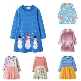 Geometric desiGn lonG dresses online shopping - Girls Cartoon A line Dress Design Cotton Autumn Long Sleeve Striped Dress Kids Designer Clothes Girls Princess Dress T
