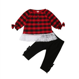 Cotton T Shirts Lace Canada - Toddler Kids Baby Girls Spring Autumn Cotton Long Sleeve Clothes Set Christmas Red Plaids Lace Tops T-shirt+Black Pants Outfits