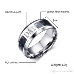 """Fathers Day Gifts For Dad NZ - 8MM Fashion Jewelry Father's Day Gift Men Wedding Ring Band """"Dad"""" Engraved Carbon Fiber Friendship Gift For Father Mens"""