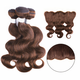Brazilian hair weave light online shopping - 3 Bundles With Lace Frontal Body Wave Dark Brown Brazilian Virgin Hair Weave Bundles with x4 Ear to Ear Frontal MiddlePart