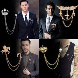 lapel brooch chain UK - Korean British Style Crown Bird Brooch Cross Suit Tassel Chain Lapel Pin Angle Wings Badge Retro Female Corsage Men Accessories