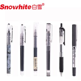$enCountryForm.capitalKeyWord Australia - 5 Pcs Snowhite Straight Liquid Ballpoint Pen Gel Pen 0.5mm Student Set Black Red Optional Quick Dry Special For Notes