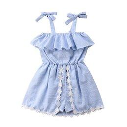 Wholesale 2020 Summer Baby Girls dress Striped Sleeveless Pantskirt Lace Up Shorts Bowknot Flower Dresses Romper Jumpsuits Princess Dress 3 pcs E22601