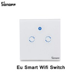 wifi light switch controllers 2019 - Sonoff T1 Eu Smart Wifi Wall Touch Light Switch 1 2 Gang Touch Wifi 433 Rf App Remote Smart Home Controller Work With Al