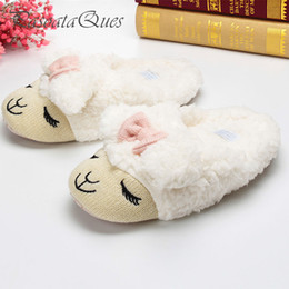 $enCountryForm.capitalKeyWord Australia - Cute Sheep Animal Cartoon Women Winter Home Slippers For Indoor Bedroom House Warm Cotton Shoes Adult Plush Flats Christmas