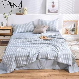 $enCountryForm.capitalKeyWord Australia - 2019 Nordic Light Blue Grey Stripes Bedding Set Wash Microfiber Polyester 4pcs Summer Quilt Bedlinens Bedsheet Pillowcases