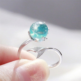 Mermaids Ring Australia - Zhen Rong wish hot sell Mermaid foam ring vibrato the same S925 blue crystal fish tail net red open ring