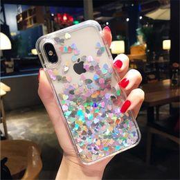 $enCountryForm.capitalKeyWord Australia - Fashion Liquid Glitter Sand Mobile Phone Cases For iPhone 6 6s 7 8 Plus X XR XS Heart Sequins Dynamic Plastic Soft Edge