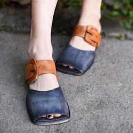 $enCountryForm.capitalKeyWord NZ - Artmu Original Women Slippers Shoes Belt Buckle Peep Toe Square Toe Shoes Handmade Genuine Leather Outside Wear Sandals Fashion