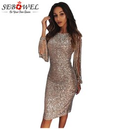 glitter evening gowns Canada - wholesale Sexy Sequin Dress Women Bodycon Silver Glitter Party Dress Long Sleeve Sequin Club Dress Gold Shine Sparkly Evening Gown