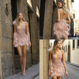 Berta evening gowns online shopping - 2020 Berta Short Prom Dresses Deep V Neck Sequins Beads Feather Sexy Backless Evening Gowns Custom Made Pink Homecoming Dress Party Wear
