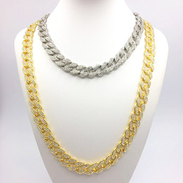 Horn color necklace online shopping - Men s Hip Hop Bling Bling Iced Out Chain Silver Gold Color Rock Miami Cuban Link Chains