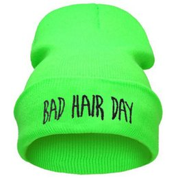 neon hats beanies Australia - Fall Winter Fashion Bad Hair Day Hiphop Caps Knit Beanie Hat For Women Men Green Black Gray Blue Pink NEON YELLOW GREEN
