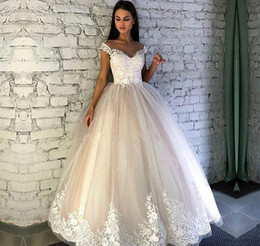 cecae97b7c0 Cheap Long Wedding Dress A Line Off Shoulders Appliques Tulle Country  Garden Church Formal Bridal Gown Custom Made Plus Size