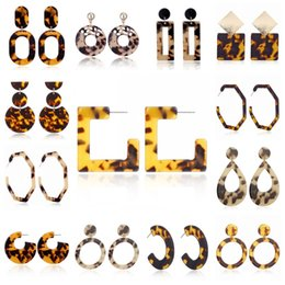 Leopard print jeweLry online shopping - Multi Style Geometry Leopard Print Earrings Acetic Acid Acrylic Circle Square Irregularity Eardrop Women Jewelry Popular xy H1