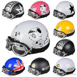 Half Helmet Goggles Australia - New Arrival Motorcycle Scooter Open Face Half Helmet with Visor UV Goggles Retro Vintage Professional Moto Helmet