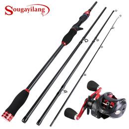 Sougayilang de Rod Combo 4 secciones de fibra de carbono de fundición de Rod 2.1M / 2.4M con Baitcasting 12 + 1BB mano derecha / izquierda Carrete de pesca en venta