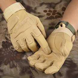 Safety Gloves Leather Australia - Men's Army Gloves Full Finger Safety Gloves Speed Dry Anti-Slippery Leather Tactical