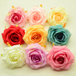 Wedding vase floWering online shopping - Artificial flowers head cheap for home wedding decoration accessories Silk roses diy vases a cap gifts box autumn decoration